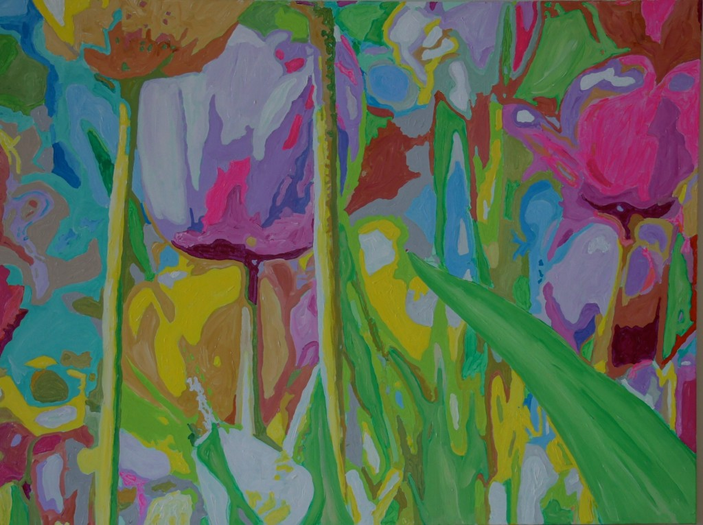Kandinsky's Tulips, Acrylic on Canvas, 48x36x0.75 inches