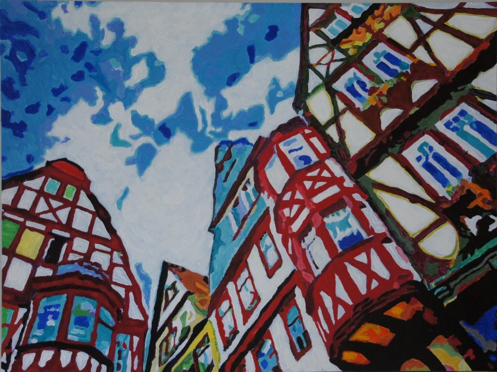 Bavarian Vertigo, Acrylic on Wood, 40x30x1.75 inches
