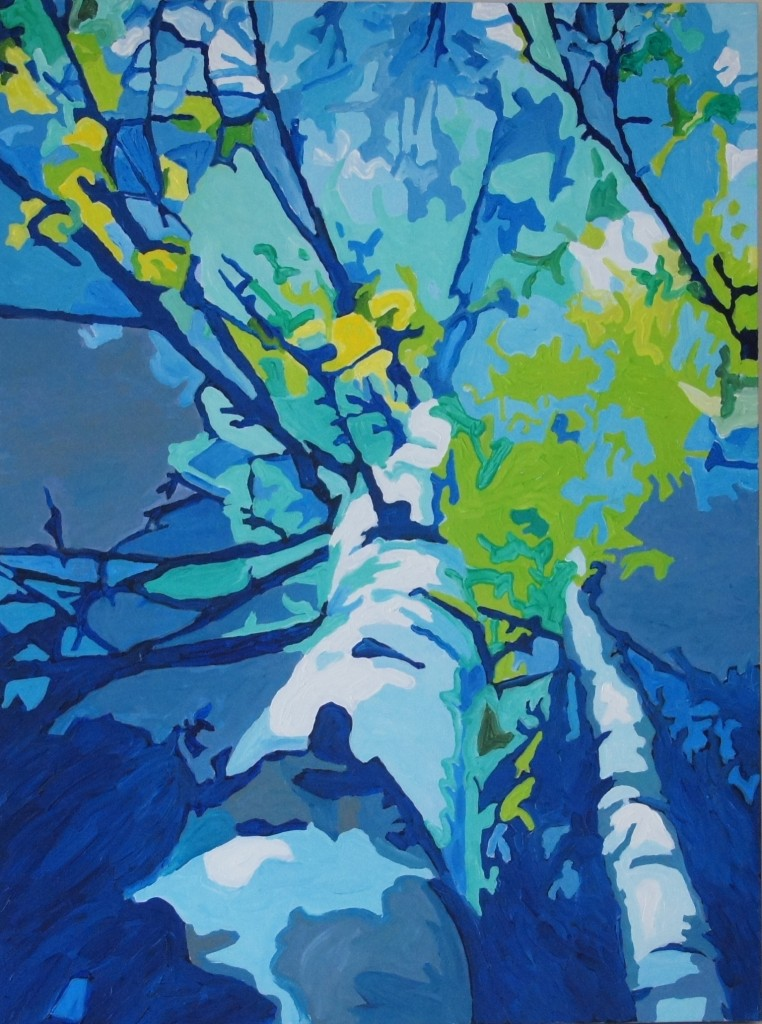 Blue Birches, Acyrlic on Canvas, 40x30x1.5 inches