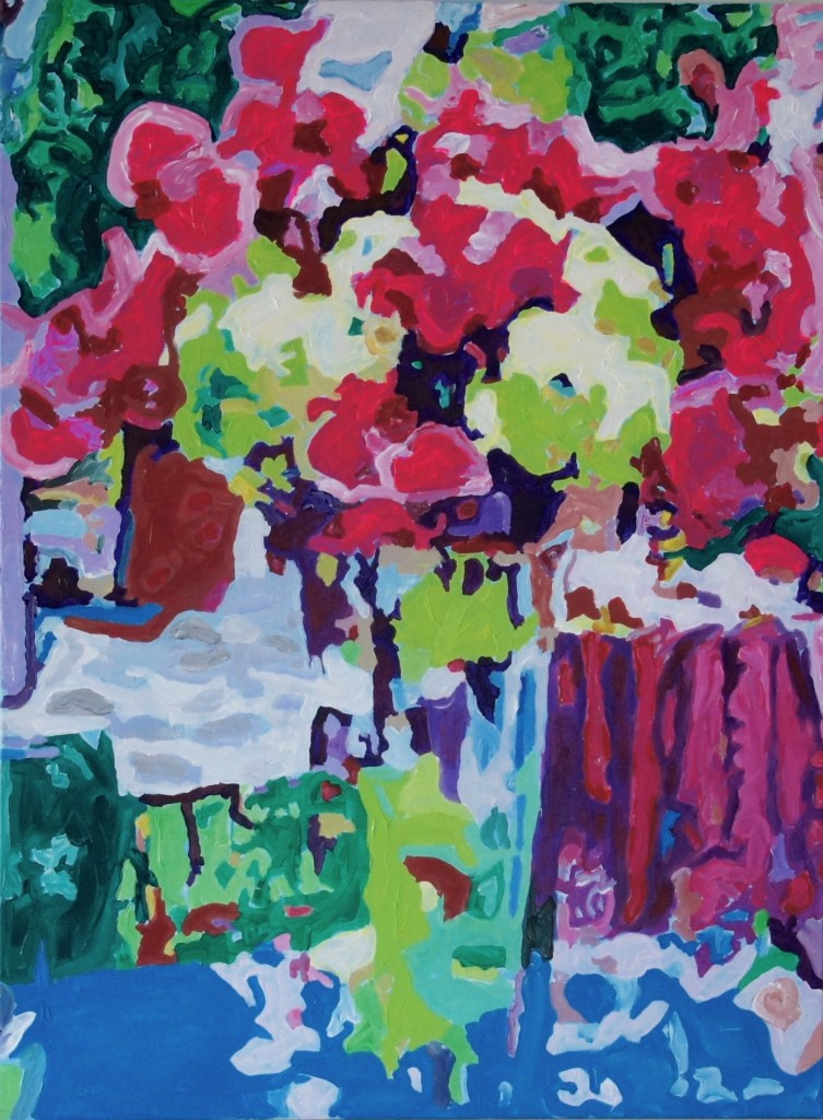 Patio Bouquet, Acrylic on Canvas, 40x30x0.75 inches, davedent.com