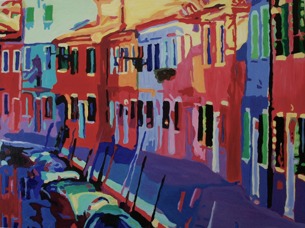 Burano Canal Sidewalk, Acrylic on Canvas, 40x30x1.75 inches, davedent.com