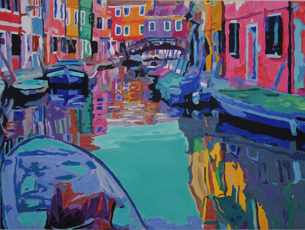 Burano Reflections, 48x36x0.75inches, acrylic on canvas