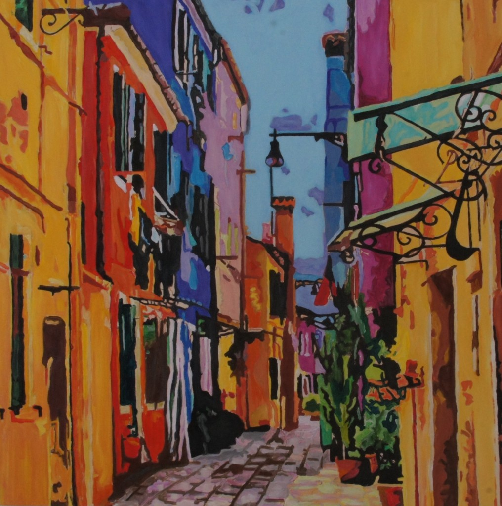 Burano Back Street, Ac;rylic on Canvas, 40x40x1.75 inches