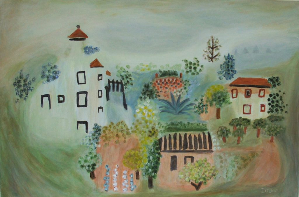 Summer Village Landscape, after Picasso, 24x36 inches, davedent.com, dave dent, david dent