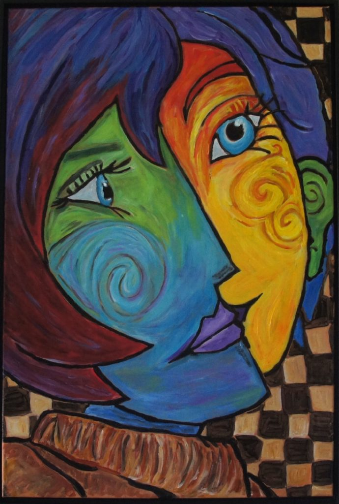 Dual Nature, after Picasso, 24 X 36 inches, davedent.com