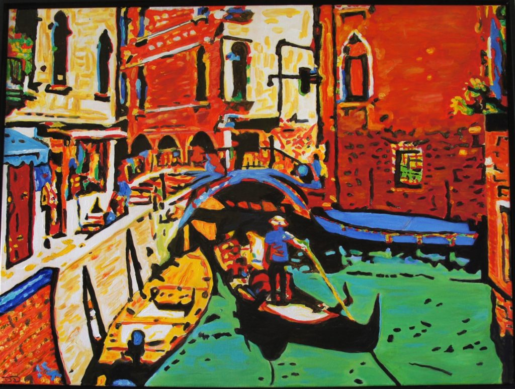 The Gondolier, Acrylic on Canvas, 40x30 inches