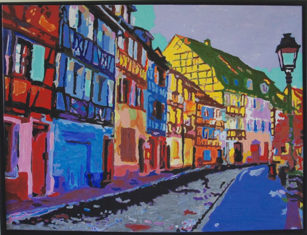 Quiet Colmar Walk, Acrylic on Canvas, 40x30 inches, davedent.com