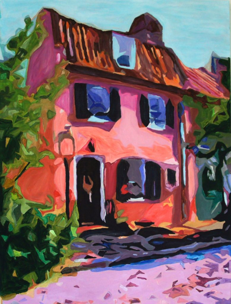 English Pink House, Acrylic on Canvas, 30x40 inches, davedent.com