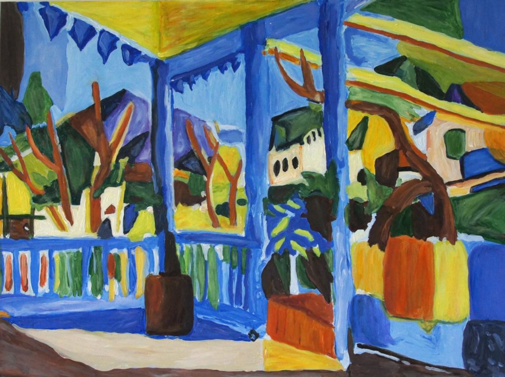 Terrace at St Germain, after Macke, Acrylic on Canvas, 40x30 inches