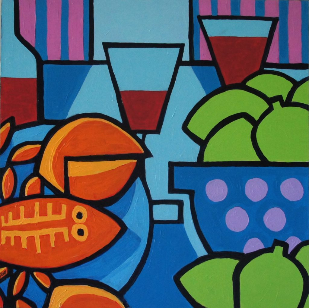 Lobster Special, Still Life after Nolan, Acrylic on Canvas, 30x30 inches, davedent.com