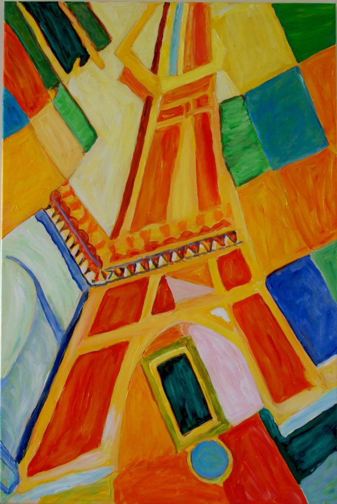 Eiffel Tower, after Derain, Acrylic on Canvas, 24x36 inches, davedent.com