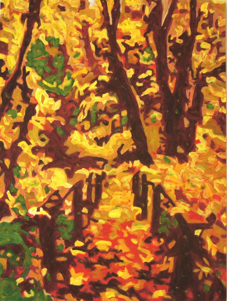 Pathway Into Fall, acrylic on  canvas, 30x40 inches, davedent.com