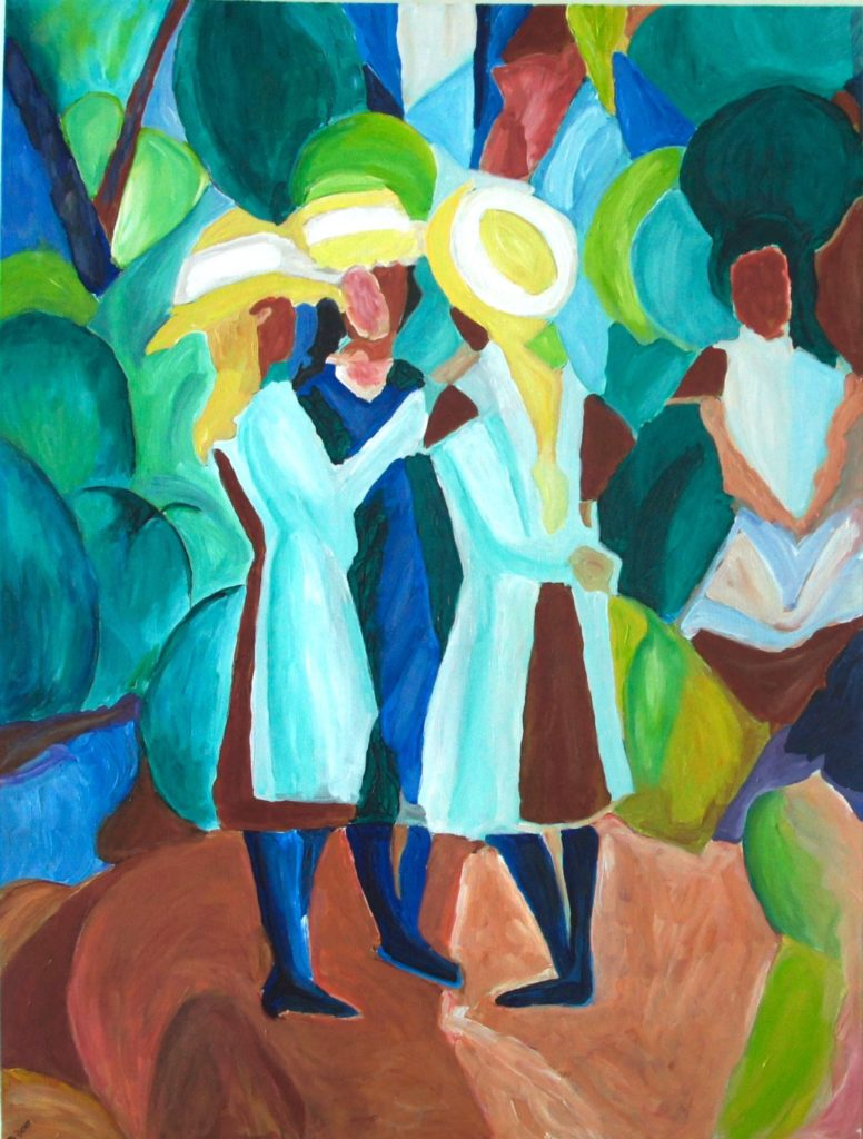 Three Girls in Yellow Straw Hats, after Macke, davedent.com
