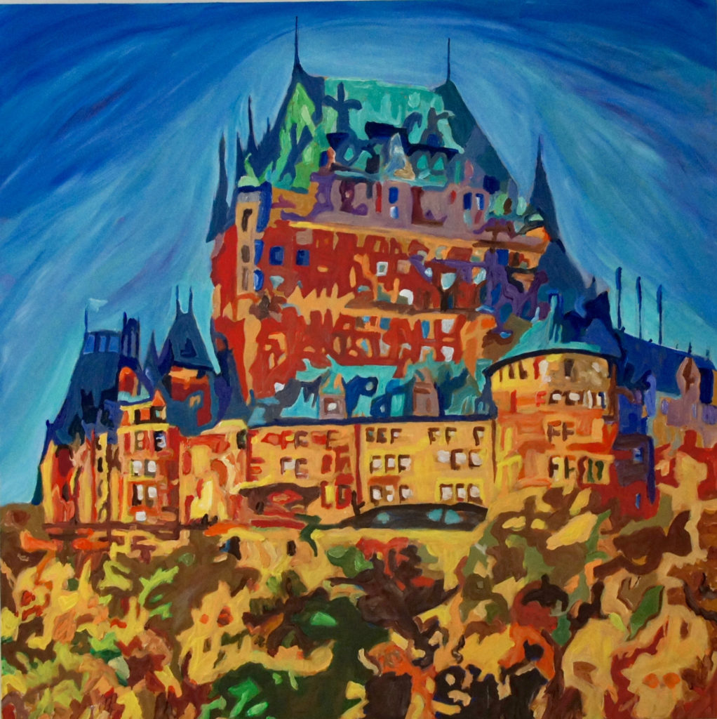 Chateau Frontenac, acrylic on canvas, 40x40 inches, davedent.com