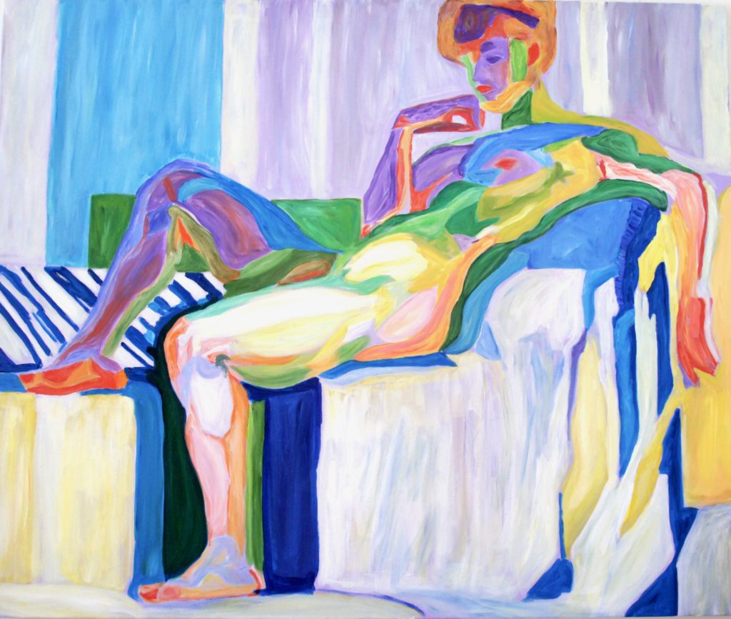 Planes By Colour , Nude After Kupka, acrylic, 40x48 inches, davedent.com, Dave Dent